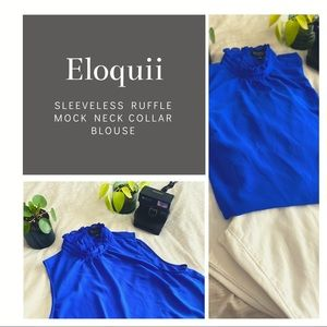 ELOQUII Sleeveless Ruffle Mock Neck Collar Blouse